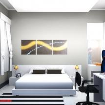 gambar Konsep 3D interior Kamar tidur utama Ibu Dian