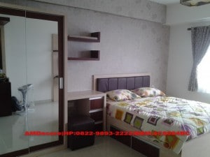 ilustrasi interior kamar utama paket apartemen full furnish gold elektronik